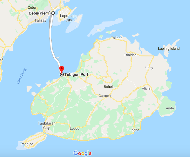Cebu to Tubigon Map